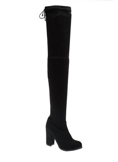 Derigo Kalın Topuklu Diz Üstü Çizme Siyah